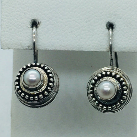Solid Sterling Silver Genuine Freshwater Pearl Earrings