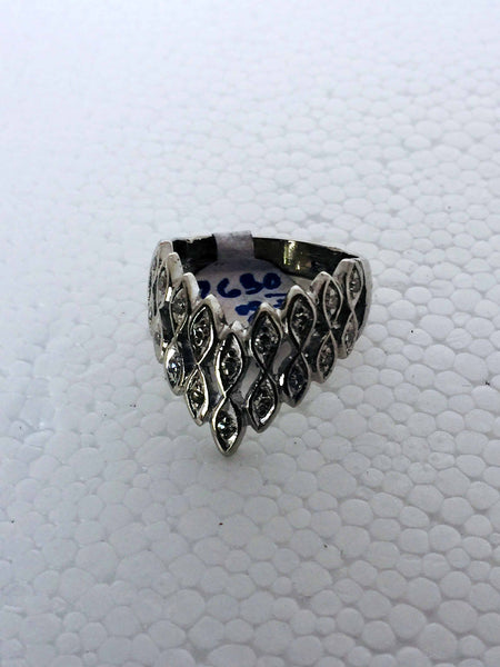 Vintage 14k Solid White Gold Diamond Ring