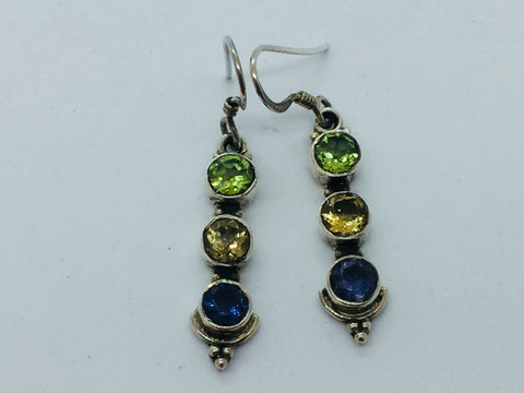 Solid Sterling Silver Genuine Peridot, Citrine & Iolite Earrings