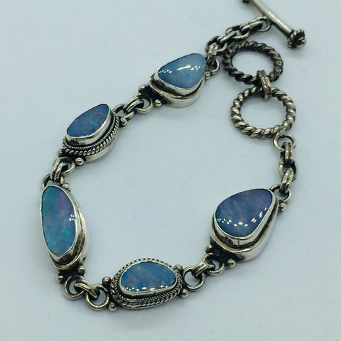 Solid Sterling Silver Genuine Opal Toggle Clasp Bracelet
