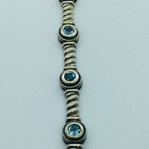 Solid Sterling Silver Genuine Blue Topaz Bracelet