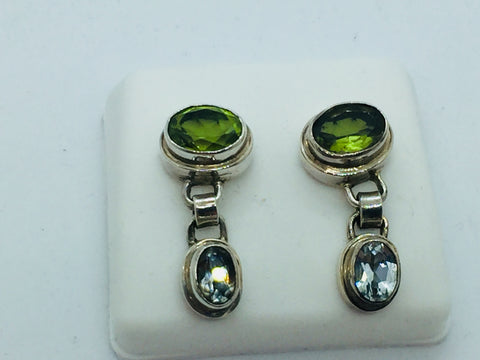 Solid Sterling Silver Genuine Peridot & Blue Topaz Post Earrings