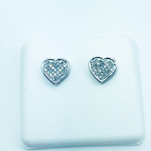 10k Solid White Gold Diamond Heart Post Earrings