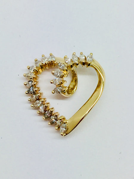 14k Solid Gold Diamond Heart Slide Pendant