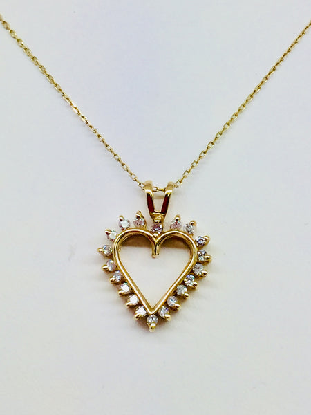 14k Yellow Solid Gold Diamond, 0.50CTW Heart Pendant & Chain, 18""
