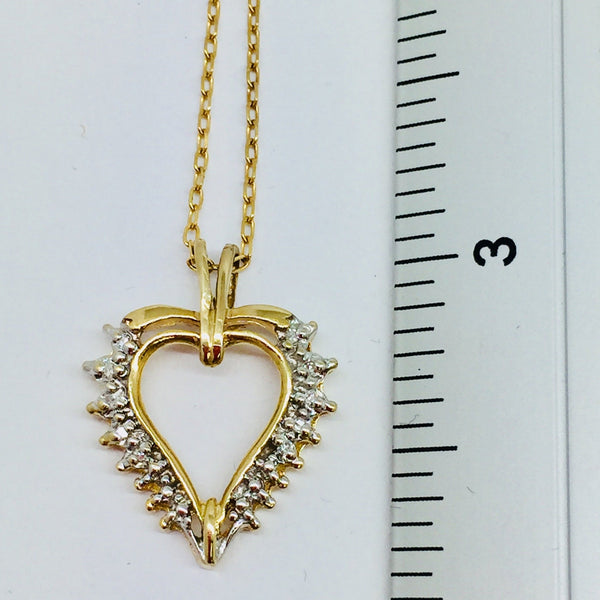 14k Yellow Solid Gold Diamonds Heart Pendant & Chain, 16""