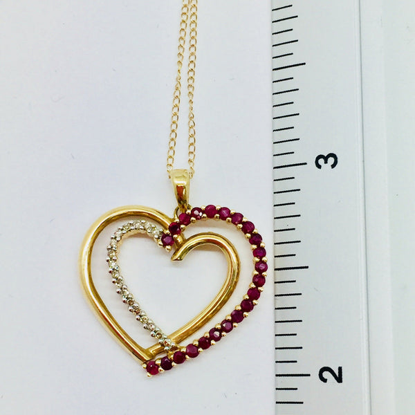 14k Solid Gold Diamond & Ruby Heart Pendant & Chain, 18'