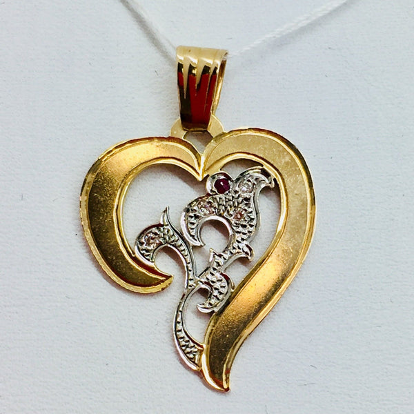 14k Yellow Solid Gold Diamonds & Ruby Heart Pendant