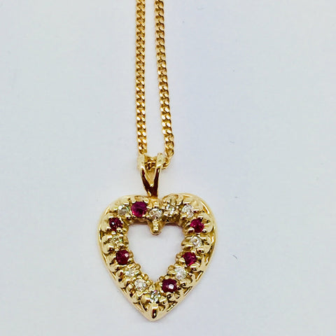 14k Solid Gold Diamond & Ruby Heart Pendant & Chain