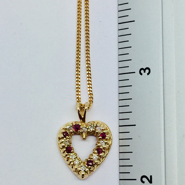 14k Yellow Solid Gold Diamonds & Rubies Heart Pendant & Chain, 16""