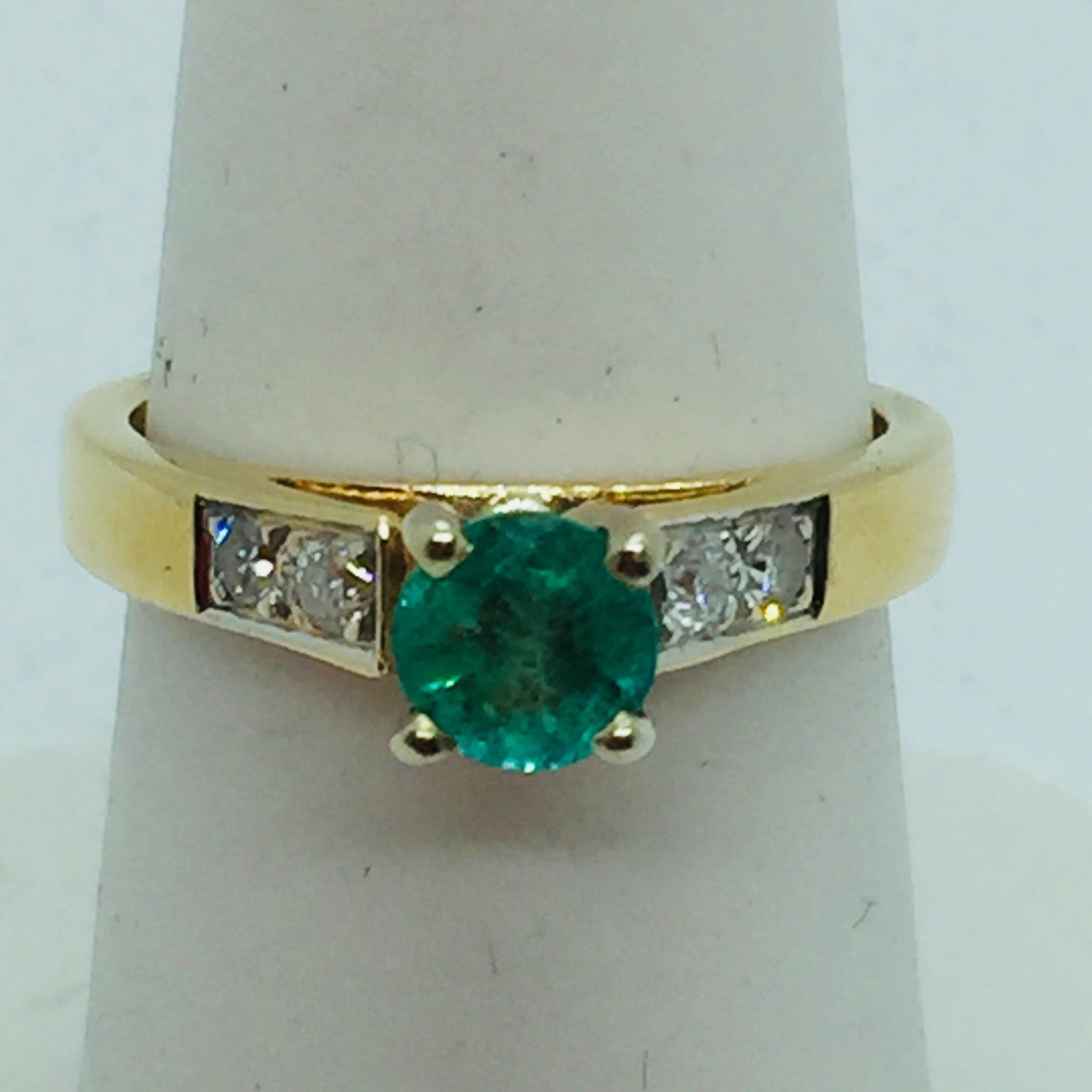 14k Solid Gold Genuine Emerald & Diamond Ring, Size 7