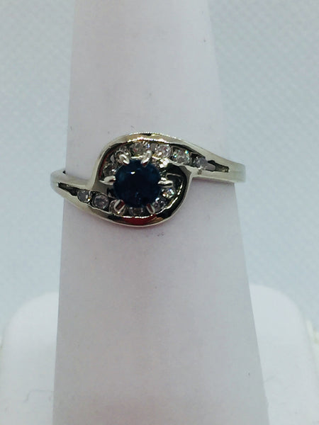14k Solid White Gold Genuine Sapphire & Diamond Ring