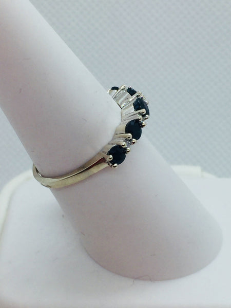 14k Solid White Gold Genuine Sapphires & Diamonds Band Ring, size 7