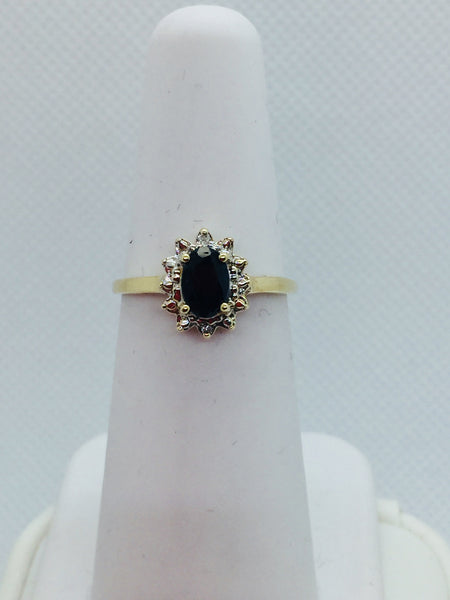 10k Solid Gold Genuine Sapphire & Diamond Ring