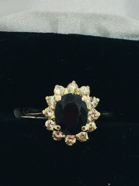 Vintage 14k Solid Gold Genuine Sapphire & Diamond Ring