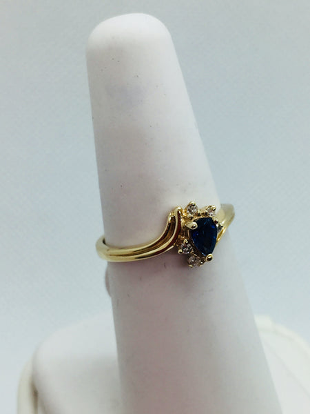 14k Solid Gold Genuine Sapphire & Diamond Ring