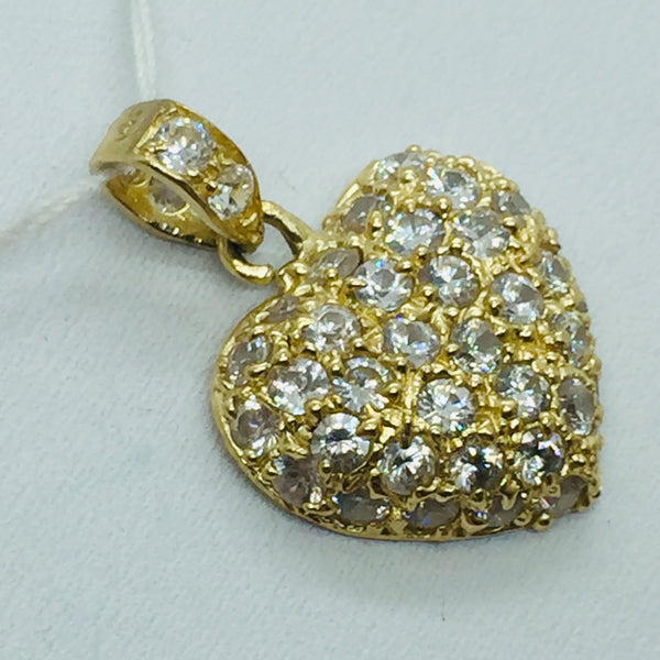 14Kt Puffed Heart Pendant with Cubic Zirconia Stones