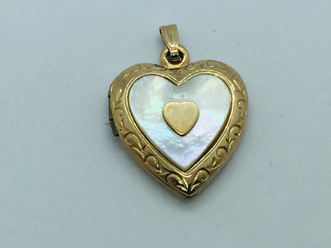 10KT Heart Locket with Mother of Pearl