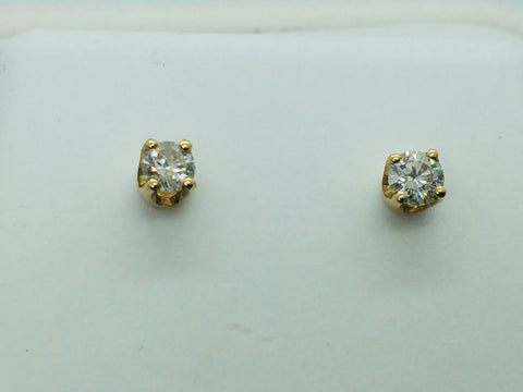 14k Solid Gold Diamond Stud Earrings