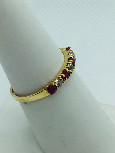 10k Solid Gold Genuine Ruby & Cubic Zirconia Ring