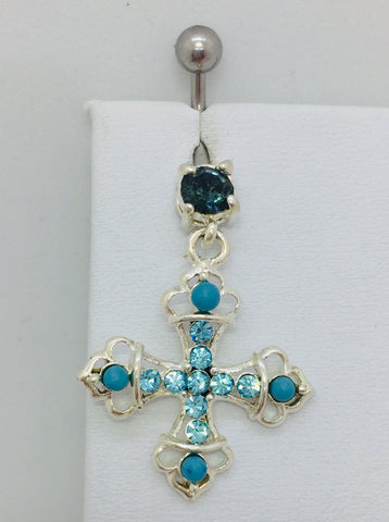 Stainless Steel & Sterling Silver Cross Charm w/Blue CZ Stones