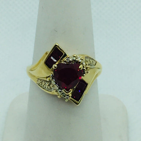 10k Yellow Solid Gold Heart Shaped Simulated Rubies, Size 7.25