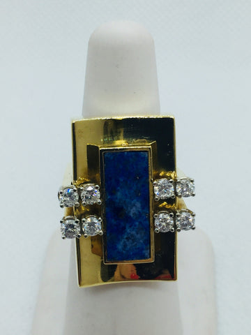 Vintage 18k Solid Gold Genuine Lapis & Diamond Ring