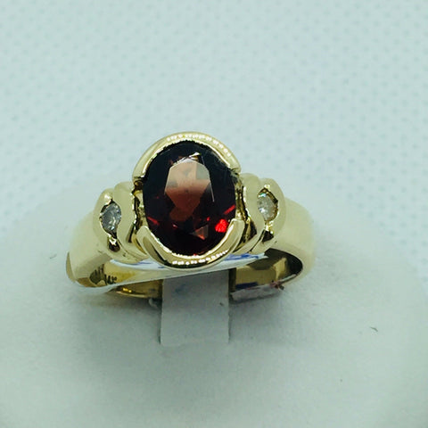 14k Yellow Solid Gold Genuine Garnet & Diamonds Ring, Size 6.25