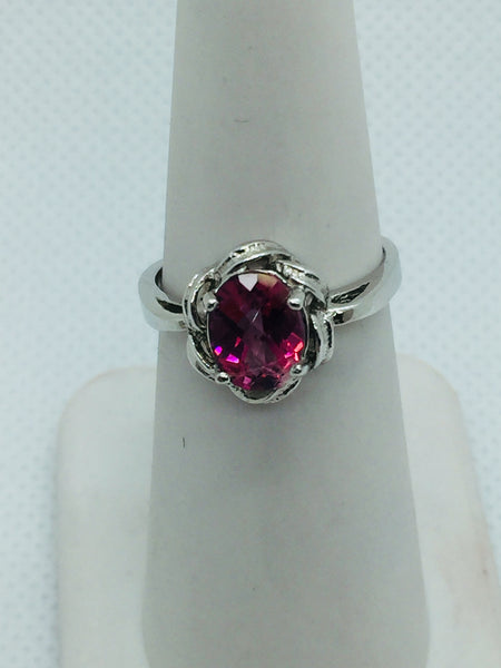 14k Solid White Gold Genuine Pink Topaz Ring, Size 6.5