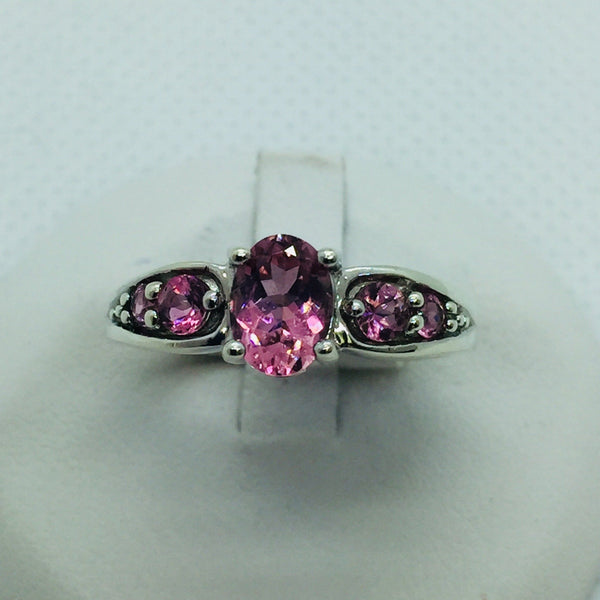 10k Solid White Gold Genuine Pink Topaz Ring