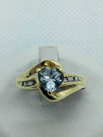 10k Yellow  Solid Gold Genuine Blue Topaz & Diamond Ring, Size 7.5