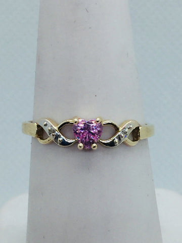 10k Solid Gold Genuine Pink Topaz & Diamond Ring