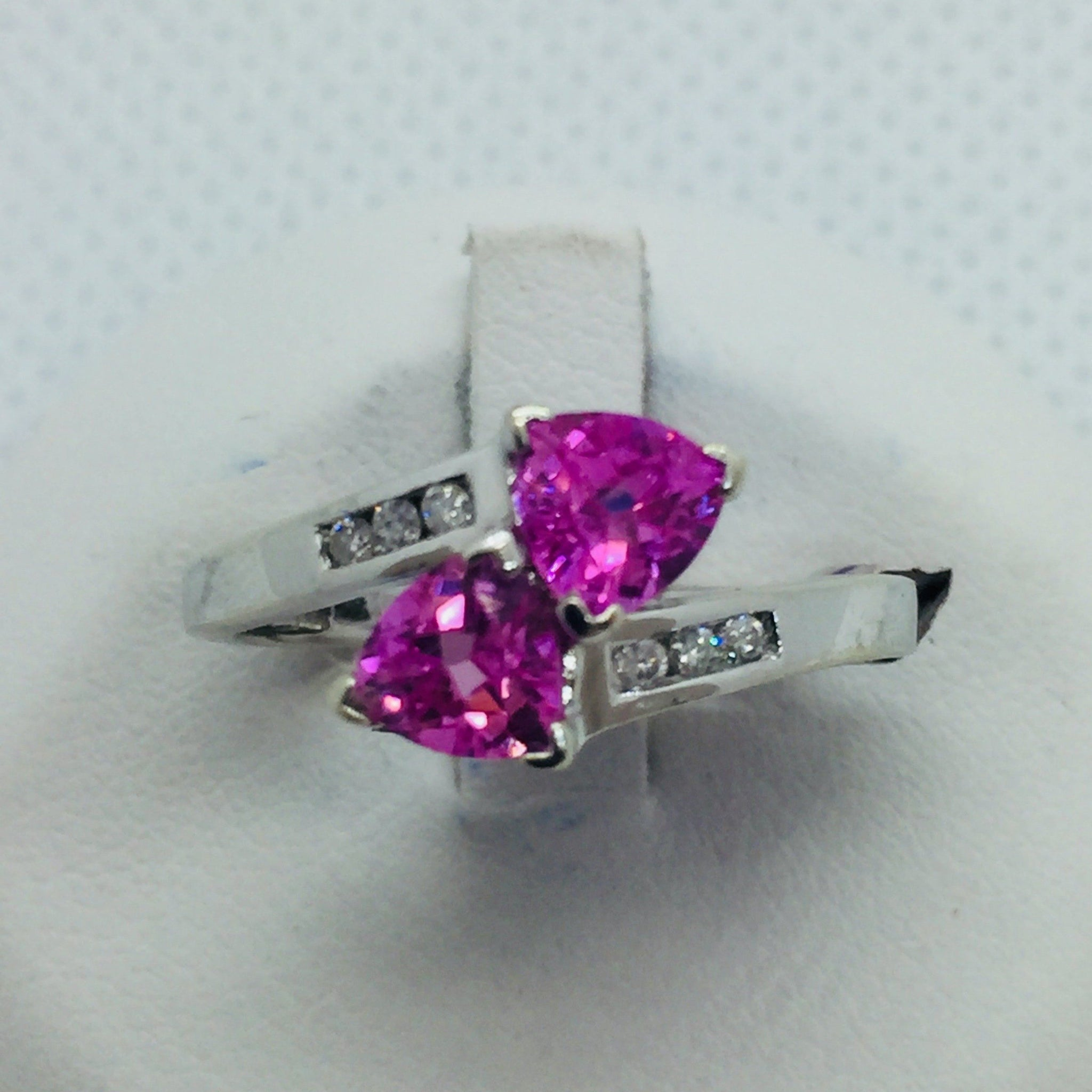 10k Solid White Gold Pink Topaz & Diamonds Ring, size 7