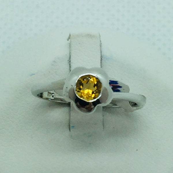 14k Solid White Gold Genuine Citron Ring