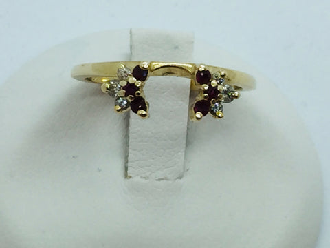 14k Solid Gold Diamond & Ruby Ring Enhancer