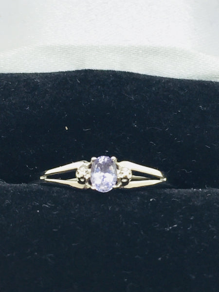 10k Solid White Gold Tanzanite Ring