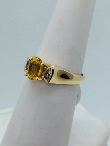 14k Solid Yellow Gold Natural Citrine & Diamond Ladies Ring Size 7