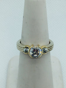 14k Solid White Gold Cubic Zirconia Ring