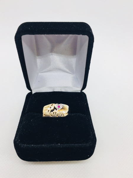"14k Solid Gold ""I Love Mother"" Genuine Ruby Ring"