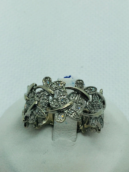 10k Solid White Gold Diamond Dragonfly Ring