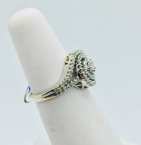 14k Solid White Gold Diamond Ring