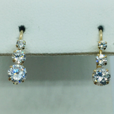 14k Solid Gold Cubic Zirconia Leverback Earring