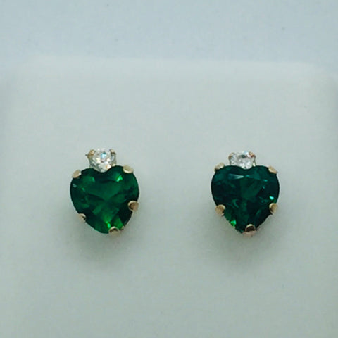 10k Solid Gold Cubic Zirconia & Green Stone Post Earrings