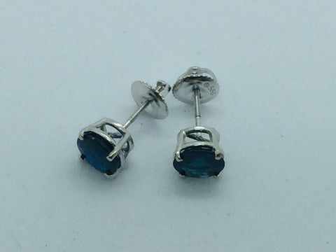 14k Solid White Gold Genuine Sapphire Screwback Post Earrings