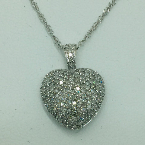 14k Solid White Gold Diamond 2.0 Total Carats Heart Pendant & 14k Rope Chain