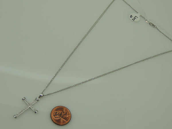 14Kt White Gold Diamond Cross with Double Chain, 17""