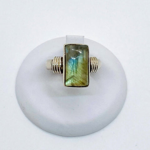 925 Solid Sterling Silver Labradorite Stone Ring