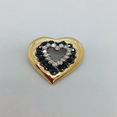 14k Yellow/White Solid Gold Heart Slide Pendant with Sapphires and Diamonds
