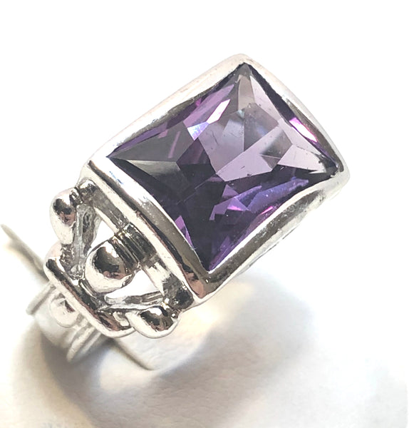 Solid Sterling Silver Amethyst Ladies Ring | Size 6