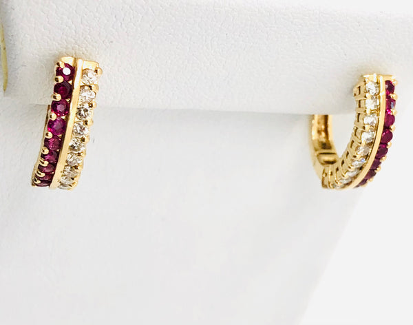 14Kt Yellow Solid Gold Natural Ruby& Diamonds Lever Back Earrings